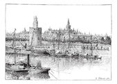 View of Seville Spain vintage engraving