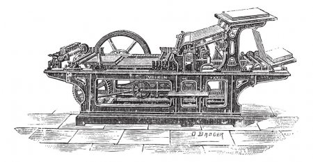 imprimerie avec gravure vintage d'un cylindre
