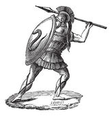 Old engraved illustration of the Greek soldier with his armor Industrial encyclopedia E-O Lami ? 1875
