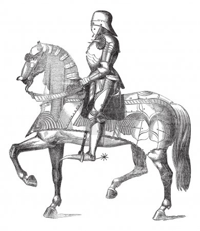 Chevalier on the horse vintage engraving
