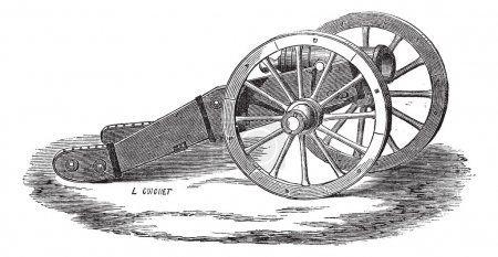 Mounting of howitzer (Valliere system) vintage engraving