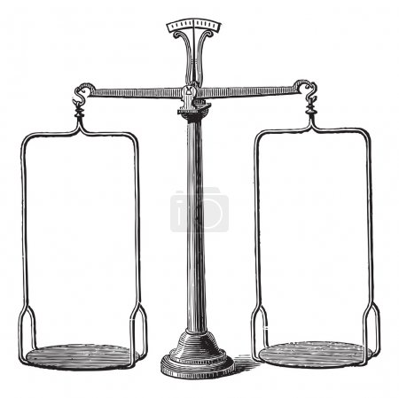 Illustration for Old engraved illustration of Balance scale isolated on a white background. Industrial encyclopedia E.-O. Lami - 1875. - Royalty Free Image