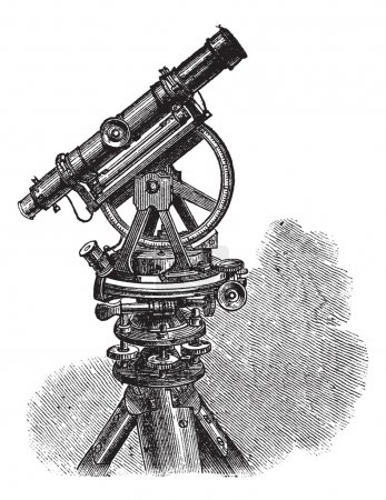 Theodolite, vintage engraving.