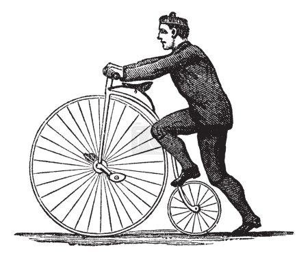 Illustration pour Penny-farthing ou High Wheel Bicycle, montrant comment monter le vélo en marchant sur la roue arrière, illustration gravée vintage. encyclopédie Trousset (1886 - image libre de droit