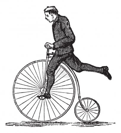 Illustration for Penny-farthing or High Wheel Bicycle, showing how to dismount the bicycle by stepping on the pedal and then raising the other leg over the rear, vintage engrave - Royalty Free Image