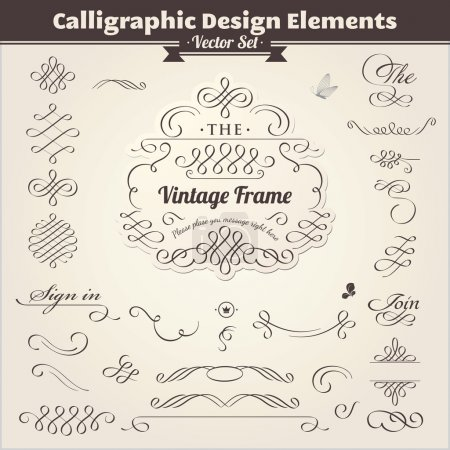 Illustration for Vector set. Calligraphic design. Elements and page decoration. - Royalty Free Image