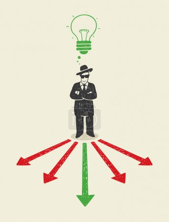 Illustration for Illustration with a man making your choice. - Royalty Free Image