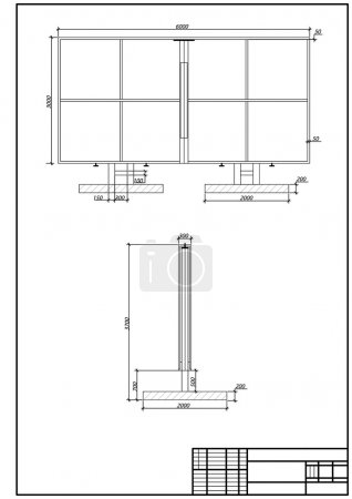 Architectural drawing of billboard, autocad, vector