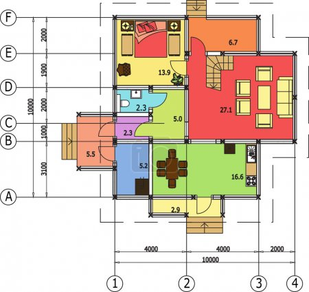 Architectural drawing of a house, autocad, vector