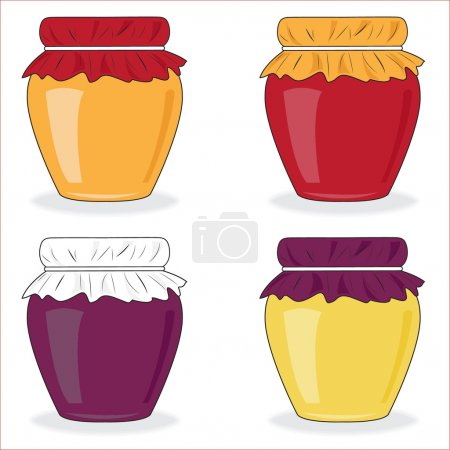 Icin set of simple jars with jam, vector