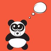 Roztomilý kreslený panda s velkýma očima, vektorové ilustrace