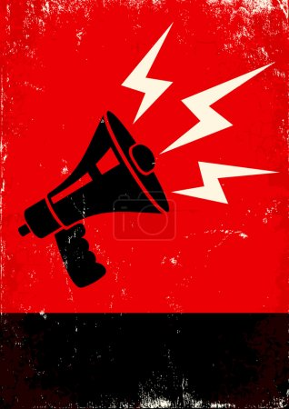 Illustration for Red and black poster with megaphone and lightning - Royalty Free Image