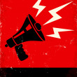 Red and black poster with megaphone and lightning...