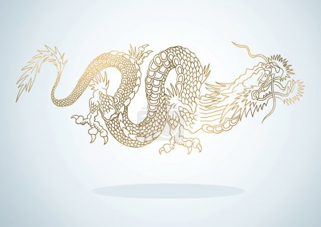 Illustration for Illustration of golden dragon in the Asian style - Royalty Free Image