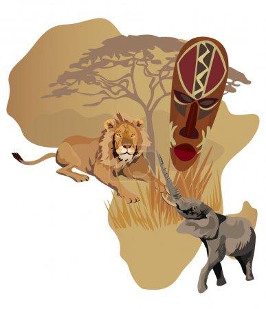 Illustration pour Illustration avec carte de l'Afrique et symboles africains - image libre de droit
