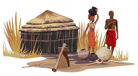 Illustration pour Homme et femme africains dans un village africain - image libre de droit