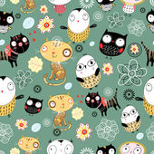 Pattern of cats and owls
