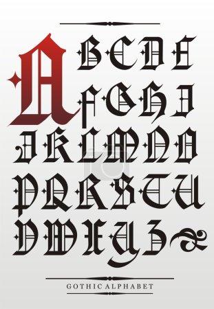Illustration pour Alphabet de police vectoriel gothique avec décorations - image libre de droit