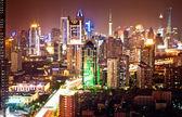 Shanghai Pudong skyline at night