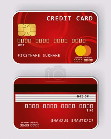 Red credit card Banking concept front and back view