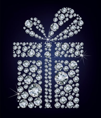 Illustration of gift present made up a lot of diamonds on the black backgro