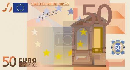 Photo-real vector drawing of a 50 euros banknote