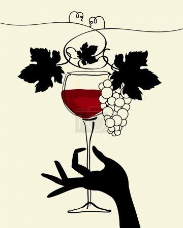 A hand holding a wine glass with grape