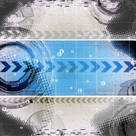 Illustration for Abstract blue grunge technology background with place for text - Royalty Free Image