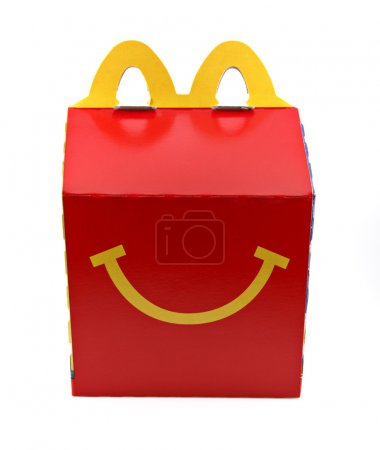 An isolated studio shot of a McDonald's Happy Meal...