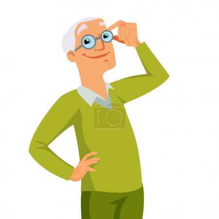 Illustration for Happy cool smiling grandfather - Royalty Free Image