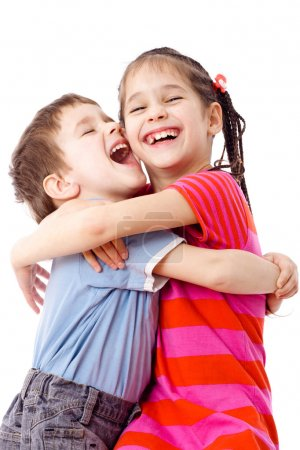 Two funny kids standing together