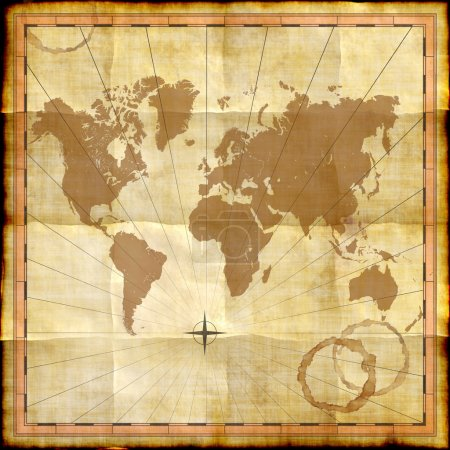 World map on old paper with coffee stains