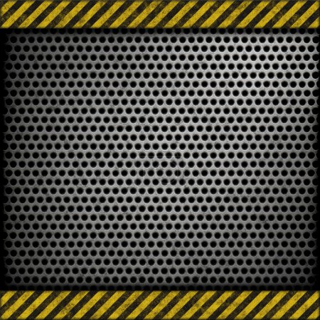 Perforated metal background with warning stripes