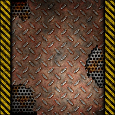 Grudge and rusted diamond metal background over perforated metal with warning stripes