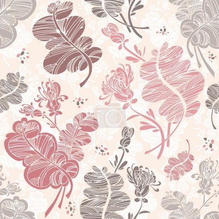 Line floral pattern against light pink background