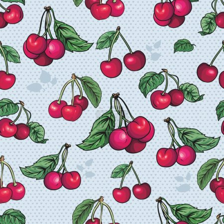 Illustration for Beautiful background with juicy berries, cherries - Royalty Free Image
