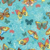Texture with butterflies and flowers turquoise