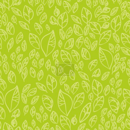 Illustration for Seamless pattern - beautiful green leaves - Royalty Free Image