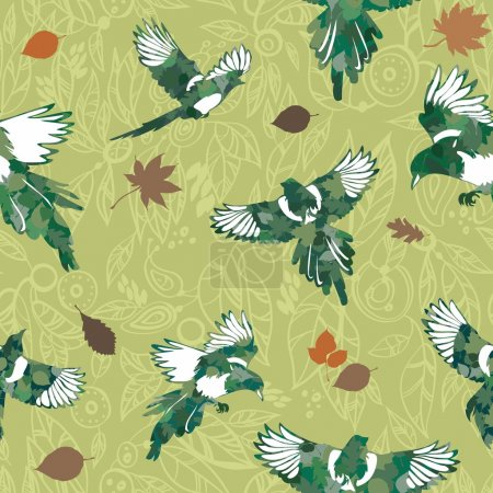 Green tones with birds seamless pattern