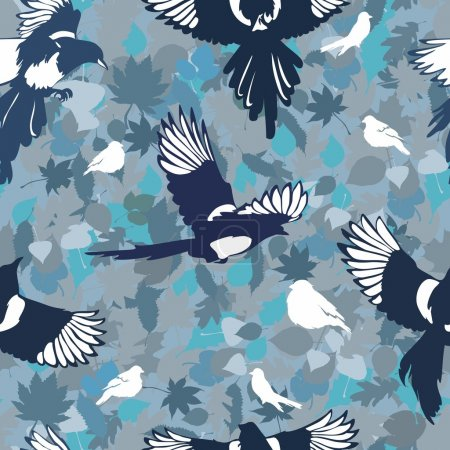 Vector pattern with birds. bright magpies. flowers