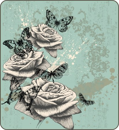 Photo for Vintage background with blooming with roses and butterflies, hand-drawing. Vector illustration. - Royalty Free Image