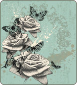 Vintage background with blooming with roses and butterflies hand-drawing
