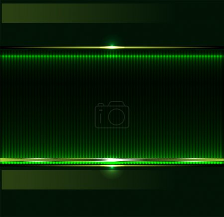 Illustration for Green technology background with metallic banner. vector - Royalty Free Image