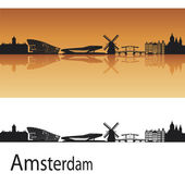 Amsterdam skyline in orange background in editable vector file
