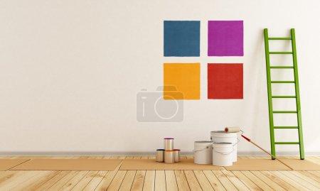 Photo pour Sélectionnez la nuance de couleur pour peindre le mur dans une salle blanche - rendu - image libre de droit
