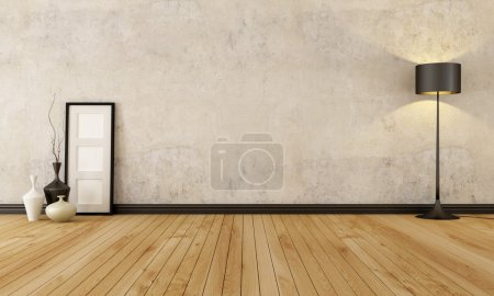Photo for Empty room with hardwood floor and old wall - rendering - Royalty Free Image