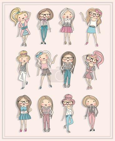 Cartoon girls. Fashion children. Set of cute girls with fashiona