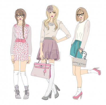 Illustration pour Illustration de jeunes filles de mode. Illustration vectorielle. Arrière-plan avec des adolescentes en vêtements à la mode posant. Illustration de mode . - image libre de droit
