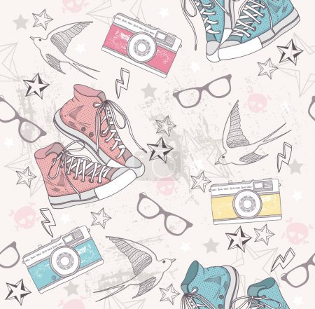 Illustration for Cute grunge abstract pattern. Seamless pattern with shoes, photo cameras, glasses, stars, thunders and birds. Fun pattern for children or teenagers. - Royalty Free Image