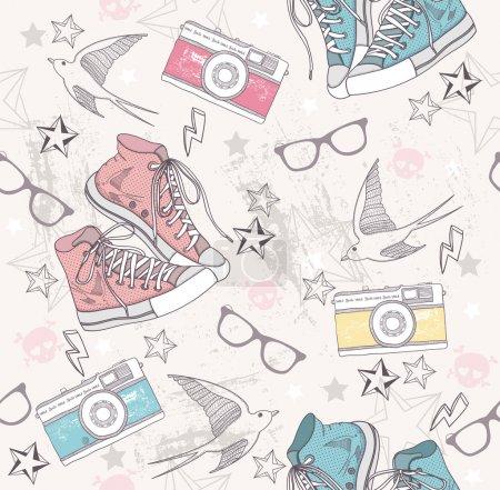 Foto de Patrón abstracto lindo grunge. patrones sin fisuras con cámaras de fotos, gafas, zapatos, estrellas, truena y pájaros. patrón de la diversión para los niños o adolescentes - Imagen libre de derechos